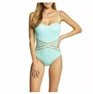 Kenneth Cole Aqua crochet one piece swimsuit